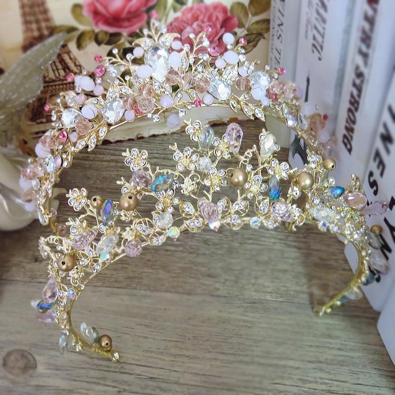Bräute Haar Schmuck Barock Handgemachte Perlen Luxus Rosa Gold Kronen Kristall Tiara Süße Prinzessin Tiaras Hochzeit Haar Zubehör