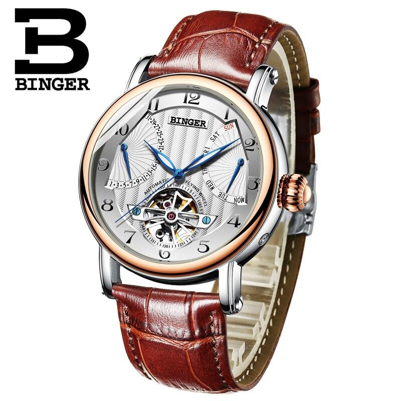 Véritable marque de luxe BINGER hommes automatique mécanique auto-vent saphir montres calendrier étanche creux Tourbillon montre hommes