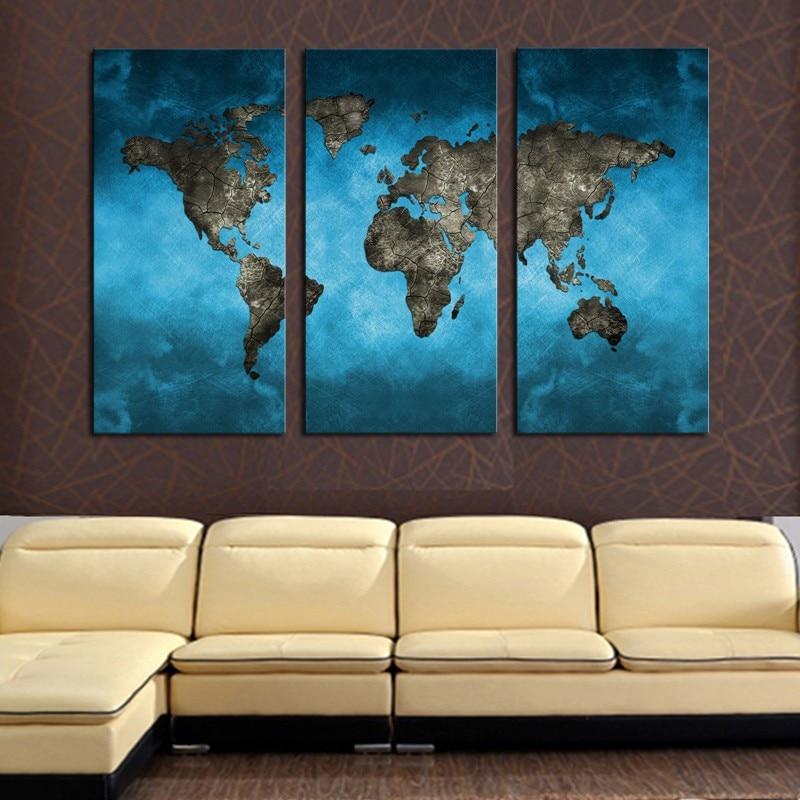 3 ploče sažetak mornarsko plava karta svijeta slikanje platna - Kućni dekor - Foto 4