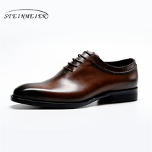 Genuine cow leather brogue Wedding shoes mens casual flats shoes vintage handmade oxford shoes for men black brown spring