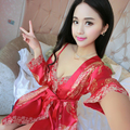 2017 spring and summer red festive silk sexy two-piece pajamas