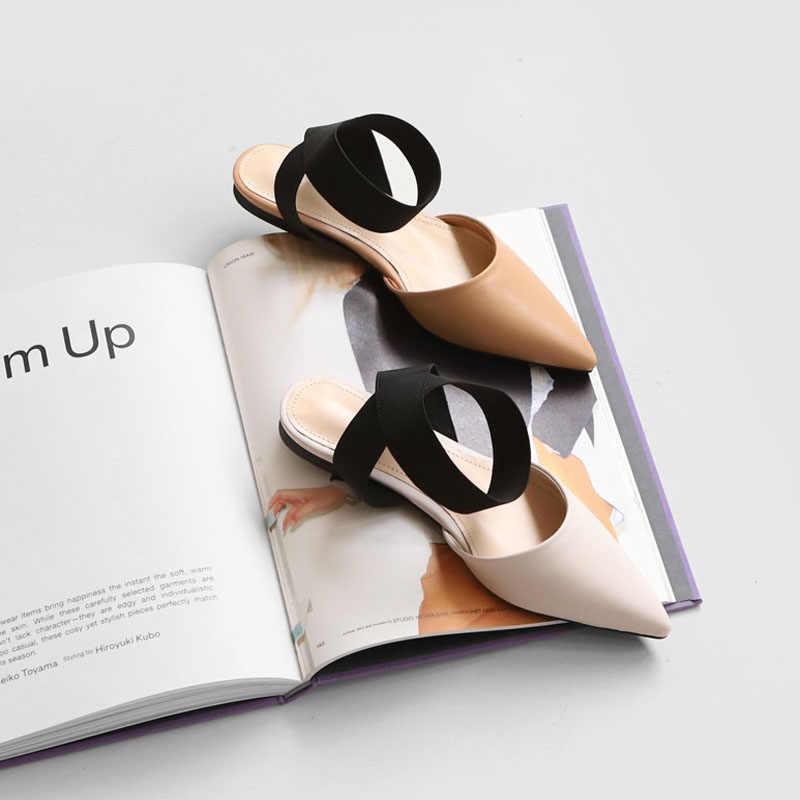 Giày Sandal Nữ Đáy Phẳng 2019 Mới Ngón Chân Túi Đeo Chéo Thun Nàng Tiên Gió Hoang Dã Điểm Mùa Hè Xăng Đan Nữ