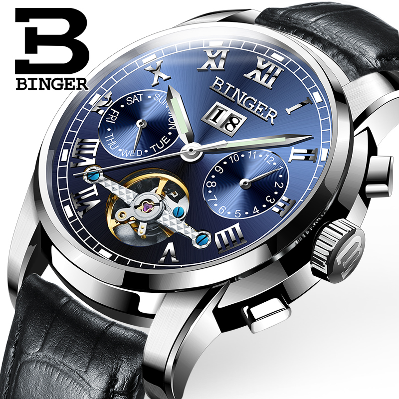 Hollow Tourbillon Design Swiss Watches BINGER Men Fashion Watch Automatic Mechanical Watch Leather Strap Waterproof B-8601