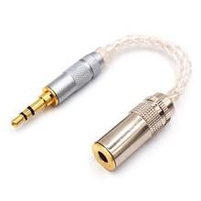 Fabriqué à la main équilibré 2.5mm/4.4mm à 3.5mm Adpter 8 Core argent cordon Audio 2.5 femelle à 4.4 mâle câble pour HIfi MP3 lecteur de musique