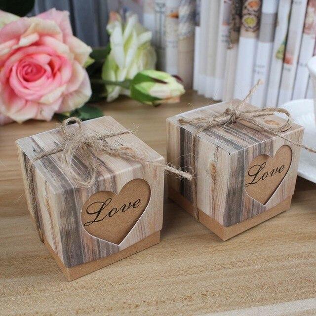 Wedding Black Love Rustic Kraft Imitation Bark Candy Box with Rope ...