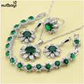 XUTAAYI 925 Silver Color Jewelry Sets For women Green Imitated Emerald Glittering Necklace/Rings/Earrings/Bracelet Free Gift