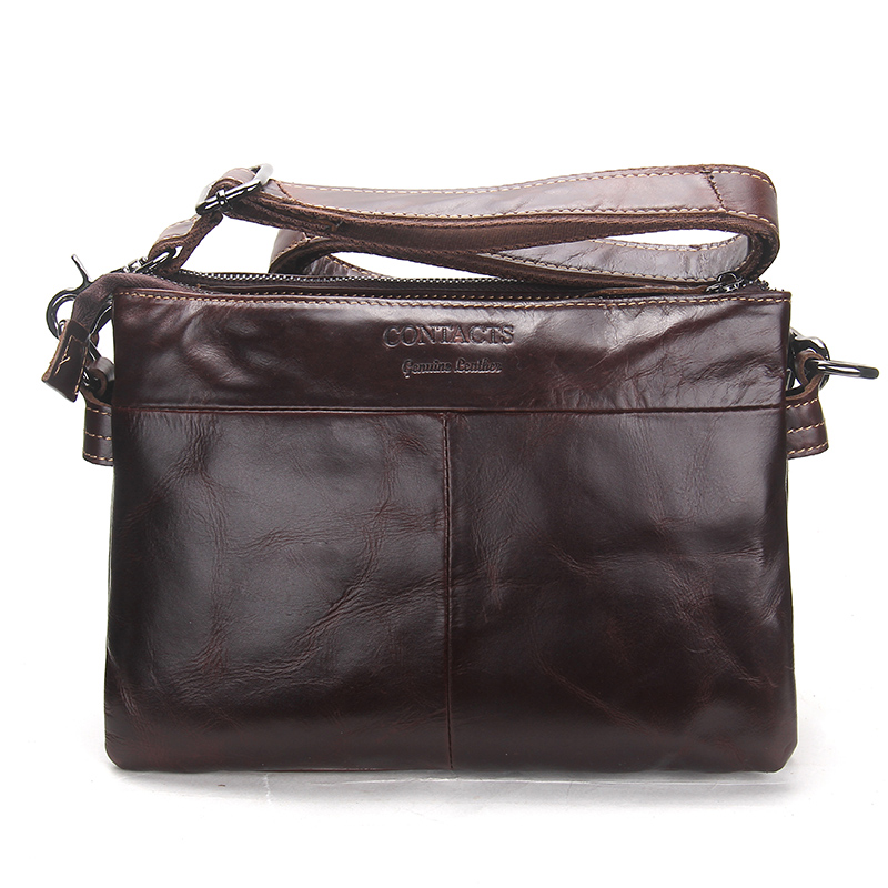 CONTACT'S Vintage Men Messenger Bags High Quality Soft Genuine Leather Large Capacity Travel Men Bags Dollar Price Handsome Man 1
