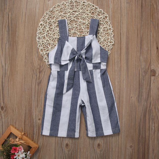 f6320f82537 Baby Girls clothes Sleeveless Romper Kids little Girl Big BOW Jumpsuit  Children Girls Clothes Striped Rompers