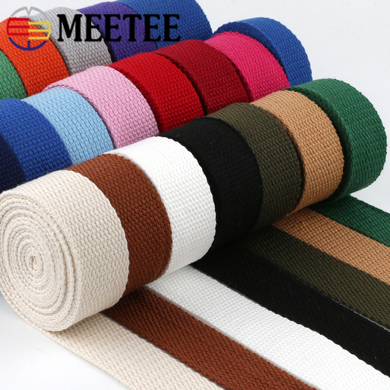 Meetee 50yards 25mm Thicken 2mm Canvas Webbing Ribbon Strap for Backpack Belt Dog Collar Woven Bands