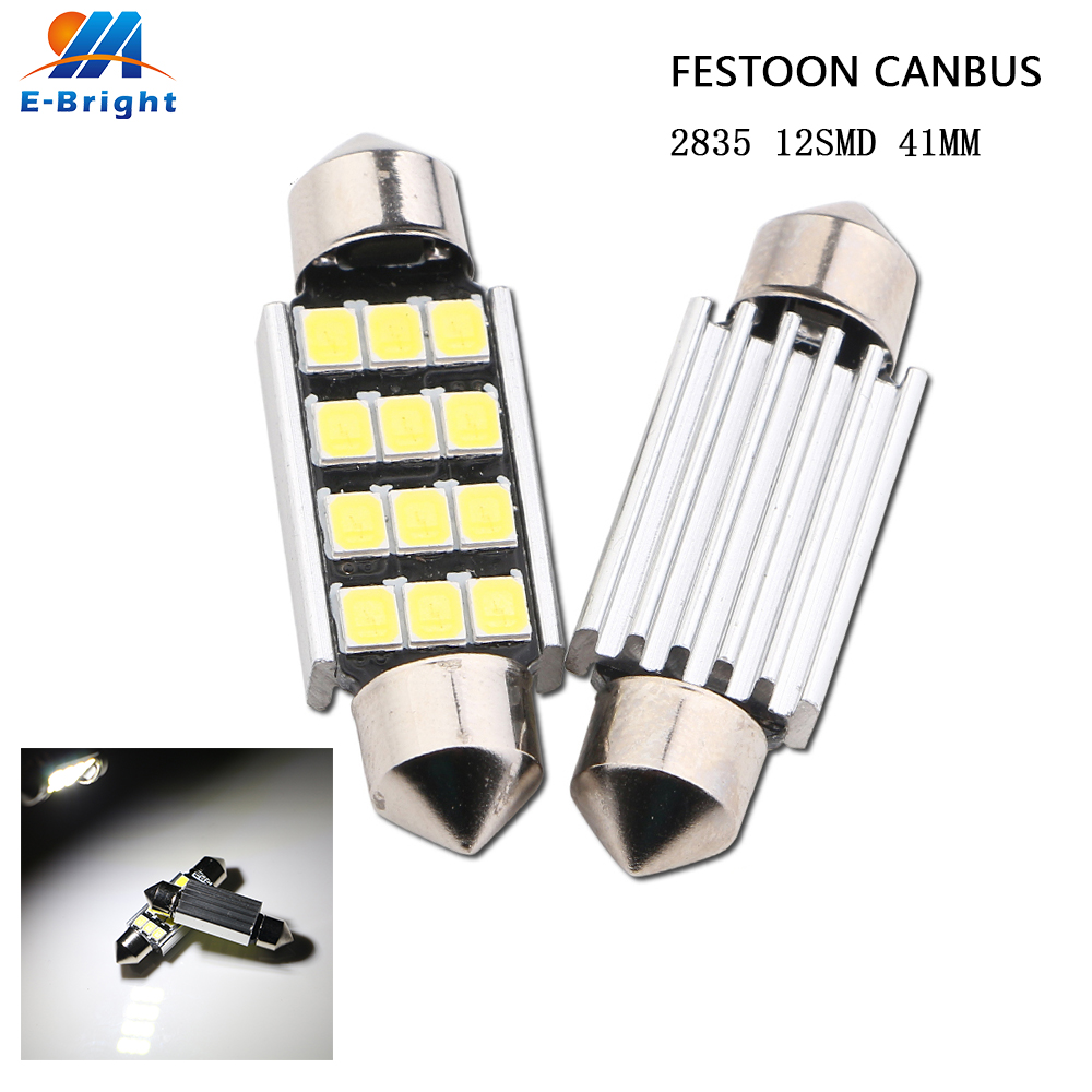 50pcs LED 41mm 2835 12 SMD Pure White CANbus C5W Bulbs License Plate Light For BMW