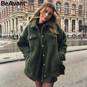 Image 2 - BeAvant Lamb wool winter women teddy fur coat warm Trendy furry pink lady coat jacket Pocket short faux fur coat outerwear 2019