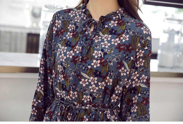 Весна новое поступление элегантные женские с цветочным рисунком шифоновое платье офис леди Длинные рукава женские ретро-линии Повседневная плиссированное платье