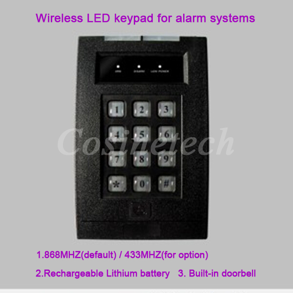 868MHZ/433MHZ Wireless remote control keyboard,Password keypad for alarm systems,LED Two-way alarm keypad with doorbell