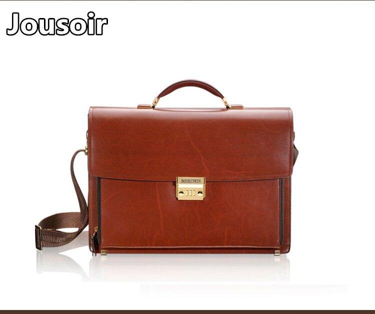 Large Leather Bag / Shoulder Bag Work Bag / College Bage genuine leather Middle-Brown Handbag Men's Leather Business Bag цены онлайн