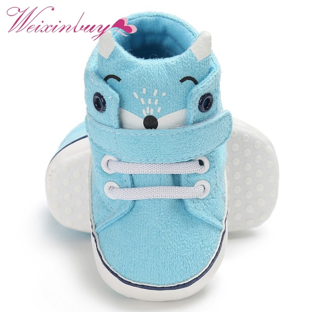 1 Pair Autumn Baby Shoes Kid Boy Girl Fox Head Lace Cotton Cloth First Walker Anti-slip Soft Sole Toddler Sneaker  4