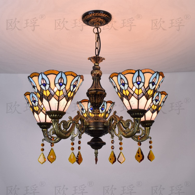 Tiffany Baroque peacock Stained Glass Suspended Luminaire E27 110-240V Chain Pendant lights for Home Parlor Dining Room