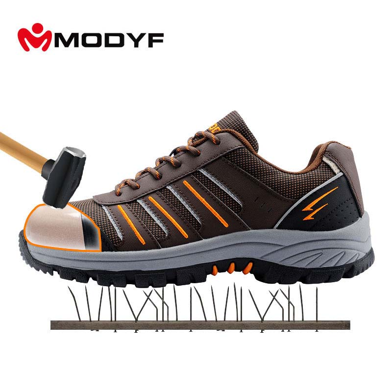 MODYF Men Steel Toe Cap Work Safety Shoes Reflective Casual Breathable Outdoor Sneaker Puncture Proof Protection