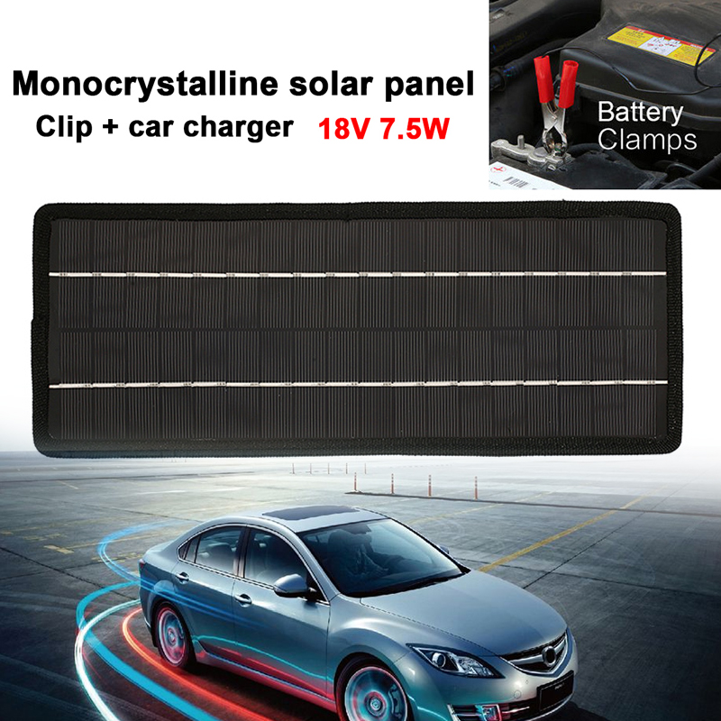 MV Car power Portable 18V 7.5W Solar Panel Bank DIY Solar Charger Panel External Battery for Car with Clips Outdoor Power