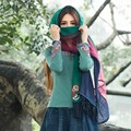 Spring And Autumn Female Linen And Mesh Patchwork Long Scarf Women Thin Shawls