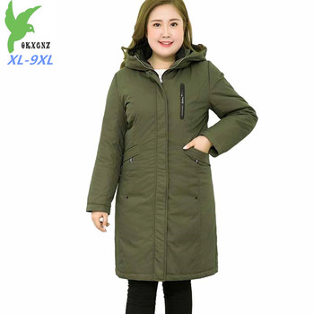 High quality winter parkas women Thick warm Hooded jackets Plus size XL-9XL Down cotton coats female Lining can be removed G35