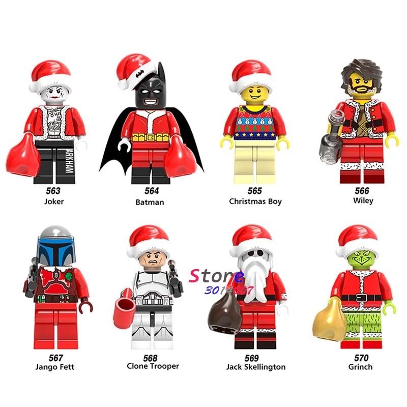 50pcs santa claus Christmas Boy Joker Wiley Jango Jack Batman Gift building block bricks for children