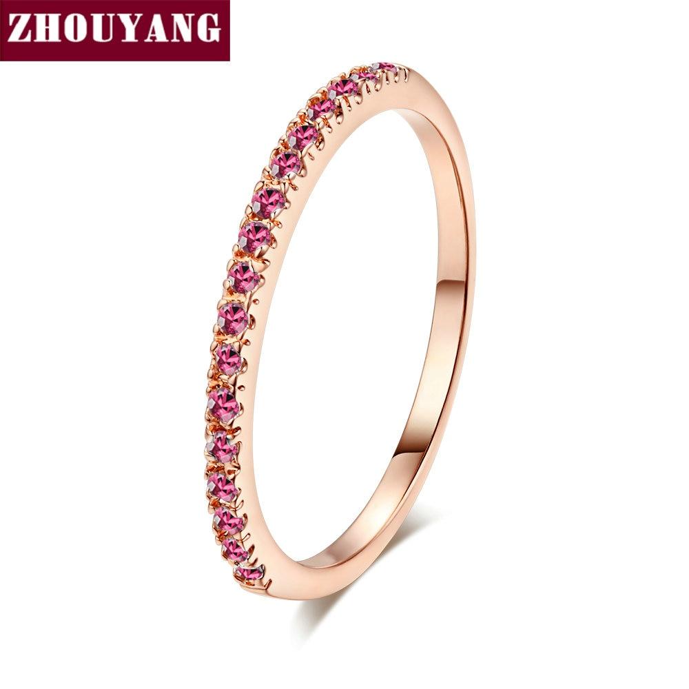 ZHOUYANG обручальное кольцо для женщин и мужчин лаконичное классическое многоцветное мини кубическое циркониевое розовое золото цвет подарок модное ювелирное изделие R251 - Цвет основного камня: R233