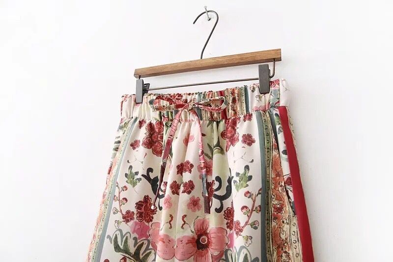 Location Colored Flower print Wide Leg Bohemian Pants