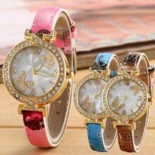 New Women's Rhinestone Butterfly Color Printed Fine Faux Leather Quartz Wrist Watch 181 G6TN W2E8D