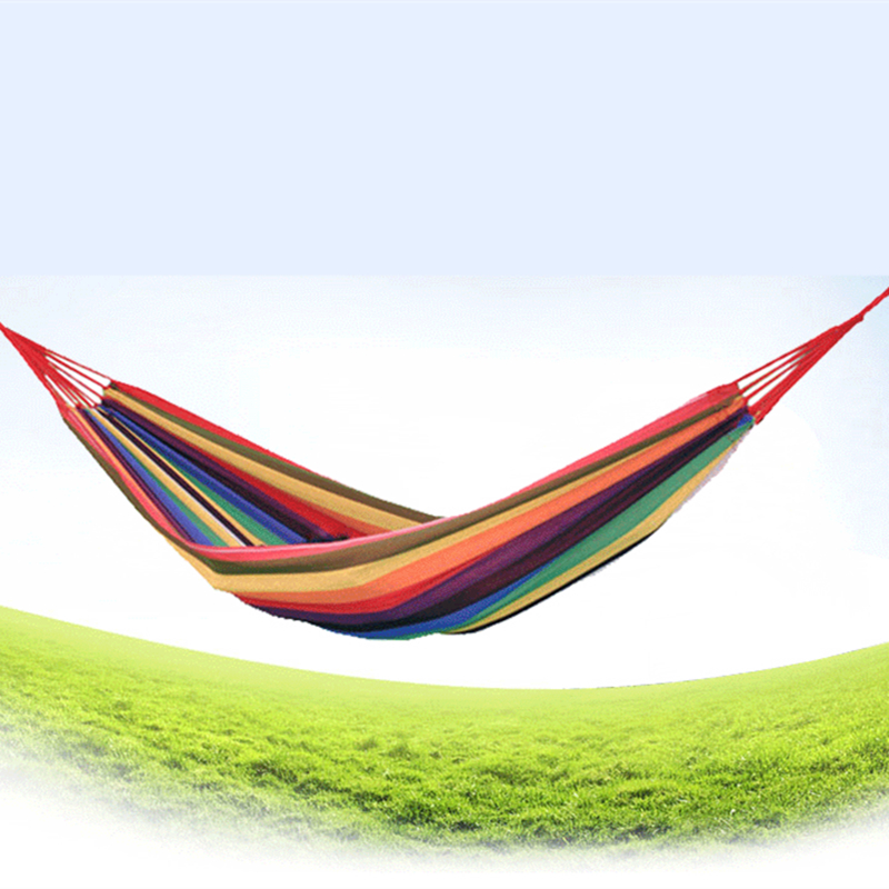 Image 5 - VILEAD Stable 200*80 cm Camping Hammock Backpacking Hiking Travel Garden Swing Hanging Chair Ultralight Portable Rainbow color-in Camping Cots from Sports & Entertainment