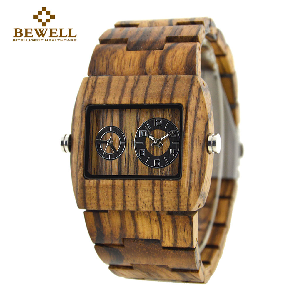 BEWELL Mens Dual Time Zone Watches Men Sport Watches Man Wood Rectangle Case Wooden Quartz-watch with Paper Box 021C bewell multifunctional wooden watches men dual time zone digital wristwatch led rectangle dial alarm clock with watch box 021a