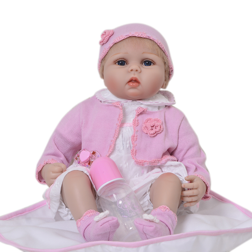 Lovely 22 inch Soft Silicone Reborn Baby Dolls Realistic 55 cm Real Life Babies Dolls With Bear bebe Toy So Truly Kids Playmates
