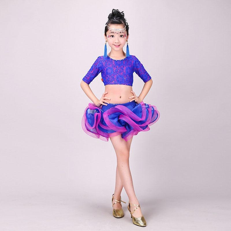 Robe latine pour filles danse Costumes de danse pour enfants robes de salle de bal concours danse latine porter