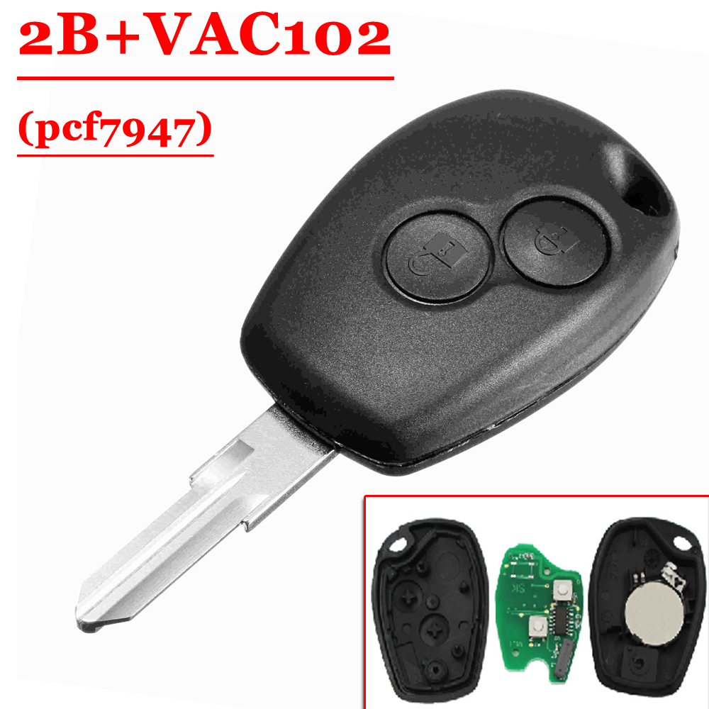 Free shipping (1 pcs ) 2 Button Remote Key With pcf7946 VAC102 Blade Round Button For Renault Clio Kangoo Modus Master free shipping 3 button remote key with 7946 chip round button with vac102 blade for renault 5pc lot