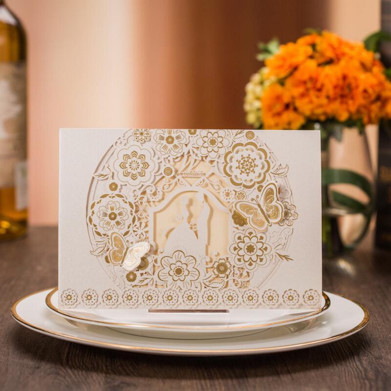 Leptir i cvijeće Dizajn papira Pozivnice za vjenčanja Bijele - Za blagdane i zabave - Foto 2