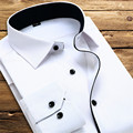 2017 New Spring Fashion Brand Men Clothes Solid Color Slim Fit Men Long Sleeve Shirt Men Business Affair Casual Men Shirt Social