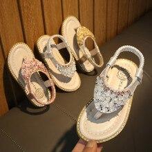 Toddler Kids Baby Girls Crystal Toepost Elastic Band Princess Shoes Sandals KidsGirls Wedding Shoes