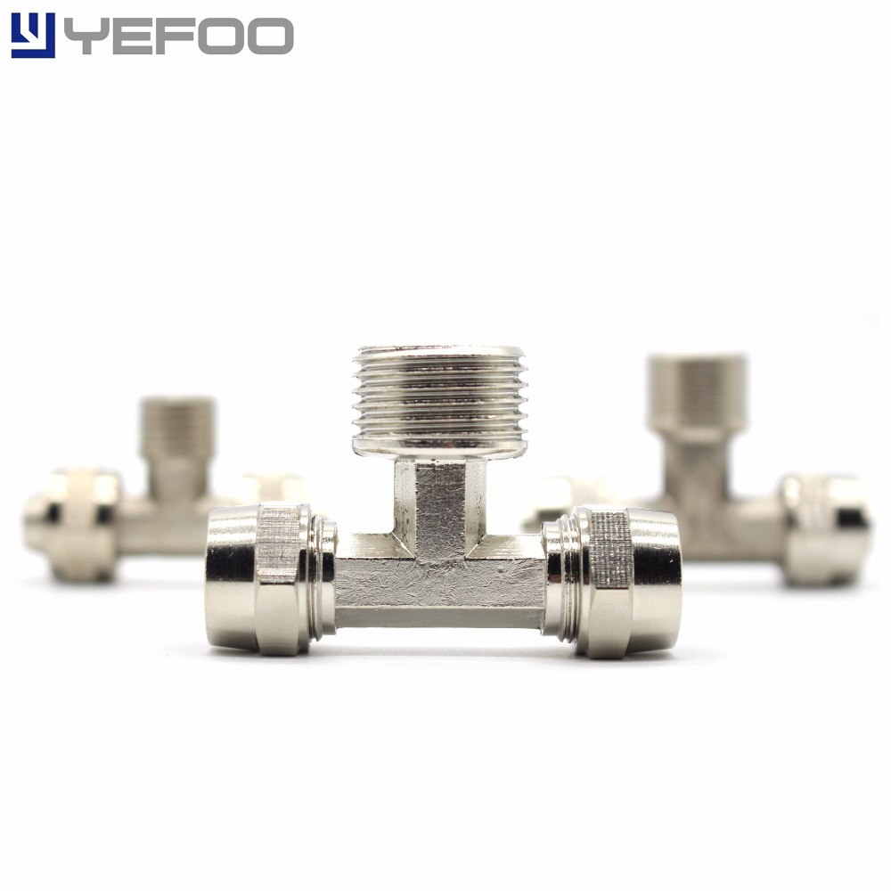 5Pcs/Lot Pneumatic Connector Three Holes Pass Connector TF4/6/8/10/12/14/16 Tracheal Fast Twist Joint 10pcs lot t type three pass reducer pneumatic fittings peg10 8 peg10 08