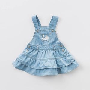 Image 2 - dave bella spring infant baby girls denim dress fashion strap dress birthday suspenders dress toddler children clothes