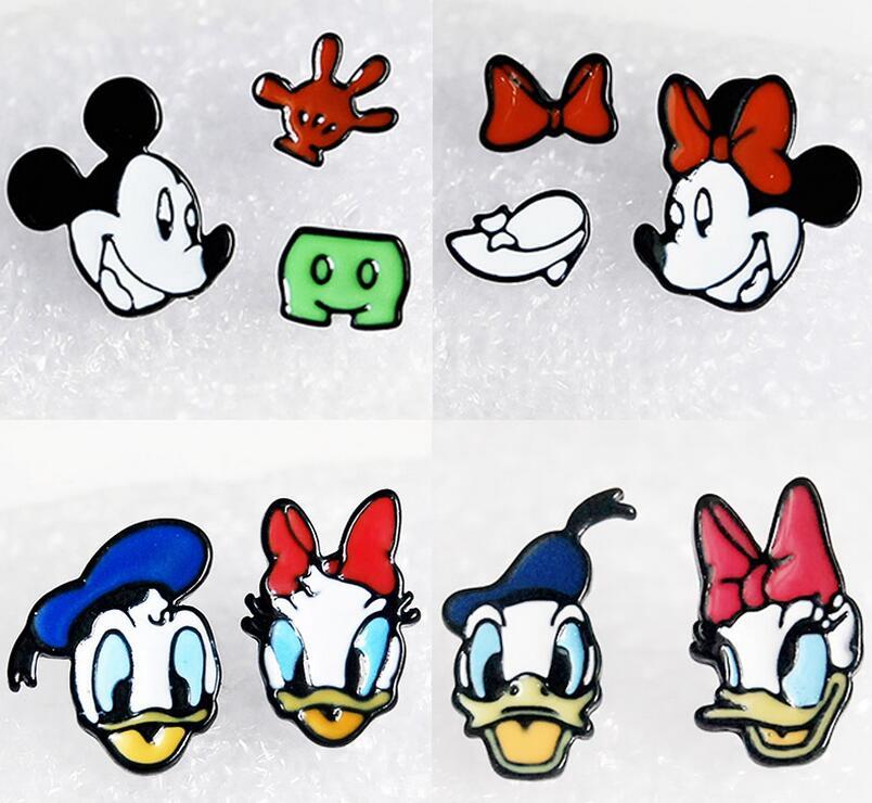 R6974 13 De Descontonovo 10 Par Dos Desenhos Animados Mickey Minnie Pato Donald Daisy Brincos Mulheres Dos Desenhos Animados Menina Dos Miúdos Das