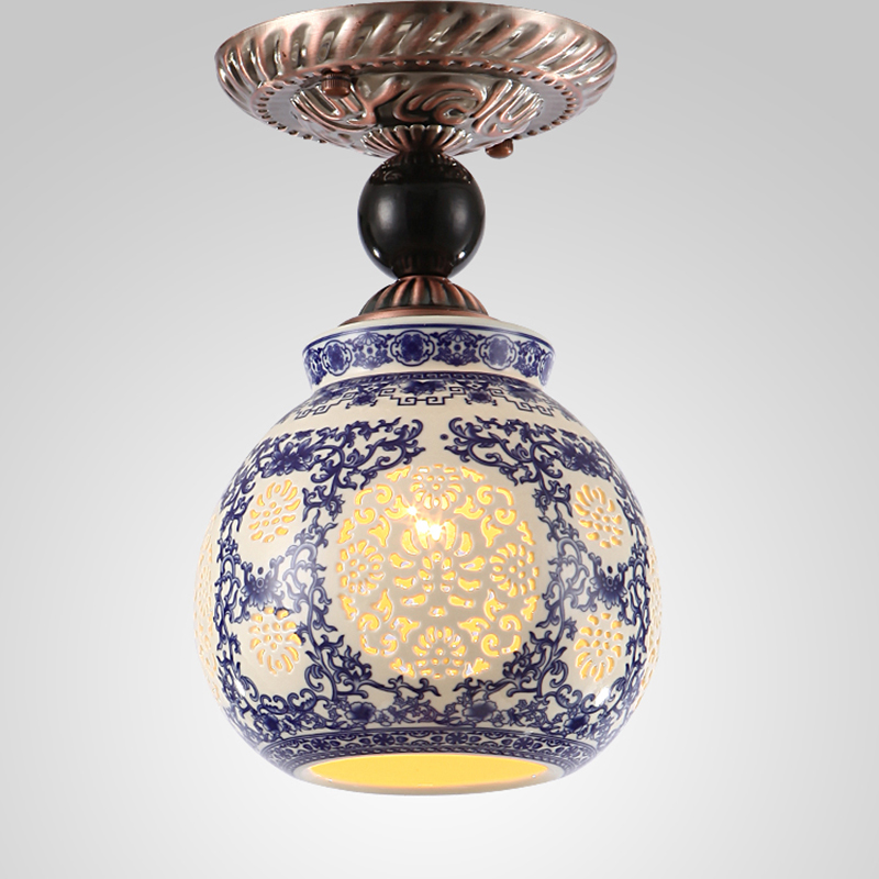 Chinese style ceramic lamp Ceiling Lights porch lamp corridor corridor lamp restaurant a ...