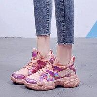 Fashion Women Laser bling Dad Sneakers Women Casual Shoes Lace Up Women Flat Platform Women Sneakers Round Toe Tenis Feminino