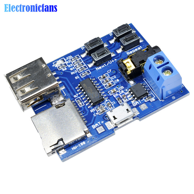 US $0 8 13% OFF|1Pcs TF Card U Disk MP3 Format Decoder Board Mirco USB Port  Amplifier Decoding Audio Player Module 3 7 5 5V-in Integrated Circuits