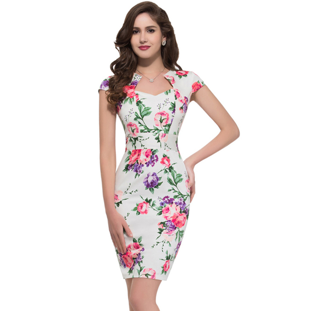 2d70e8691db28 Floral Print Summer Dresses Casual Plaid Polka Dot Dress Vintage 1950s  Fitted Bodycon Bandage Sheath Robes For Women Clothing