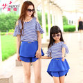 Family Matching Clothes Mother Daughter T-Shirt + Culottes Set Short Sleeve Blue Family Look Parent-child Outfit  Ma e Filha