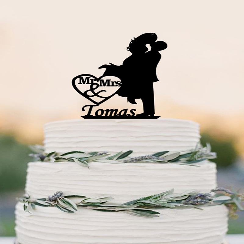 ộ_ộ ༽Personalizado torta, Pastel de Bodas Topper silueta pareja Mr ...
