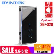 BYINTEK НЛО P8I ОС Android 7,1 Пико карман HD портативный Micro Лазерная Wi Fi Bluetooth мини светодиодный DLP проектор с батарея