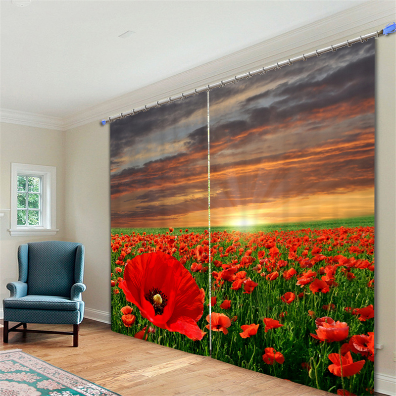 Customized Red flowers Luxury 3D Blackout Window Curtain Drapes For Living room Bed room Hotel Wall Tapestry CortinasCustomized Red flowers Luxury 3D Blackout Window Curtain Drapes For Living room Bed room Hotel Wall Tapestry Cortinas