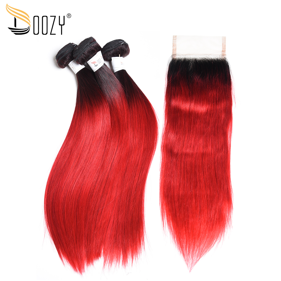 Doozy Ombre Color 1B/Red Brazilian Hair 3 Bundles Remy Straight Human Hair Weave With 4x4 Lace Closure