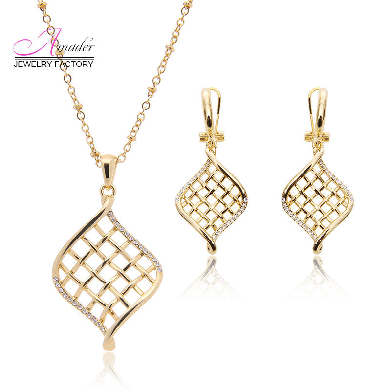 Amader New Rose Gold Hollow Jewelry Sets Necklace font b Drop b font font b Earrings