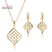 Amader New Rose Gold Hollow Jewelry Sets Necklace & Drop Earrings Jewelry Set  bride wedding jewelry sets